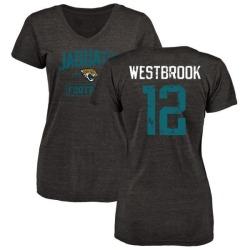 Women's Dede Westbrook Jacksonville Jaguars Black Distressed Name & Number Tri-Blend V-Neck T-Shirt