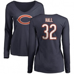 Women's Deiondre Hall Chicago Bears Name & Number Logo Slim Fit Long Sleeve T-Shirt - Navy