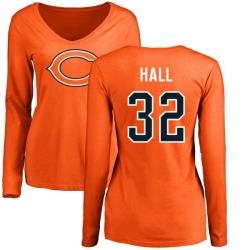 Women's Deiondre Hall Chicago Bears Name & Number Logo Slim Fit Long Sleeve T-Shirt - Orange