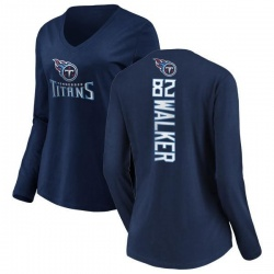 Women's Delanie Walker Tennessee Titans Backer Slim Fit Long Sleeve T-Shirt - Navy