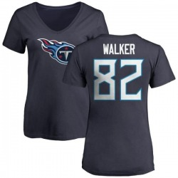 Women's Delanie Walker Tennessee Titans Name & Number Logo Slim Fit T-Shirt - Navy