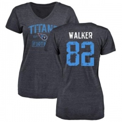 Women's Delanie Walker Tennessee Titans Navy Distressed Name & Number Tri-Blend V-Neck T-Shirt