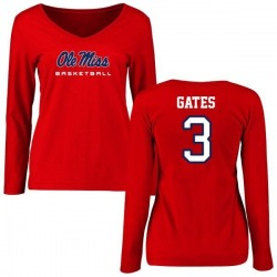 Women's DeMarquis Gates Ole Miss Rebels Basketball Slim Fit Long Sleeve T-Shirt - Red