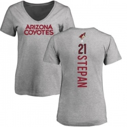 Women's Derek Stepan Arizona Coyotes Backer T-Shirt - Ash