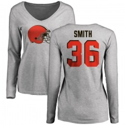 Women's Derron Smith Cleveland Browns Name & Number Logo Slim Fit Long Sleeve T-Shirt - Ash