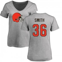 Women's Derron Smith Cleveland Browns Name & Number Logo Slim Fit T-Shirt - Ash