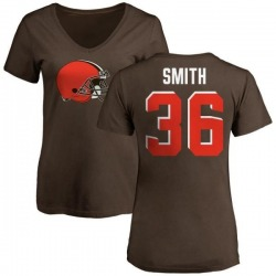 Women's Derron Smith Cleveland Browns Name & Number Logo Slim Fit T-Shirt - Brown