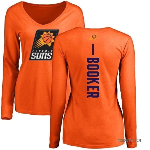 brand new da8cc d0fb8 Women's Devin Booker Phoenix Suns Orange Backer Long Sleeve T-Shirt - Teams  Tee