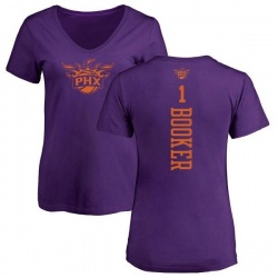 Women's Devin Booker Phoenix Suns Purple One Color Backer Slim-Fit V-Neck T-Shirt