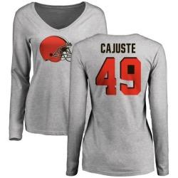 Women's Devon Cajuste Cleveland Browns Name & Number Logo Slim Fit Long Sleeve T-Shirt - Ash