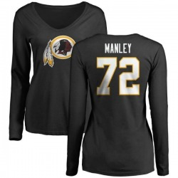 Women's Dexter Manley Washington Redskins Name & Number Logo Slim Fit Long Sleeve T-Shirt - Black