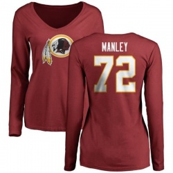 Women's Dexter Manley Washington Redskins Name & Number Logo Slim Fit Long Sleeve T-Shirt - Maroon