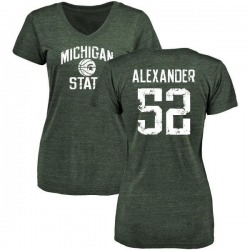 Women's Dillon Alexander Michigan State Spartans Distressed Basketball Tri-Blend V-Neck T-Shirt - Green