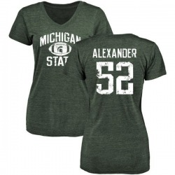 Women's Dillon Alexander Michigan State Spartans Distressed Football Tri-Blend V-Neck T-Shirt - Green