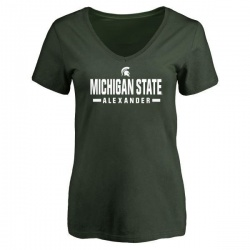 Women's Dillon Alexander Michigan State Spartans Sport V-Neck T-Shirt - Green