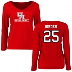 Women's Dillon Birden Houston Cougars Basketball Slim Fit Long Sleeve T-Shirt - Red