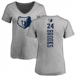 Women's Dillon Brooks Memphis Grizzlies Heathered Gray One Color Backer Slim-Fit V-Neck T-Shirt