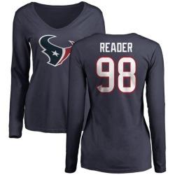 Women's D.J. Reader Houston Texans Name & Number Logo Slim Fit Long Sleeve T-Shirt - Navy