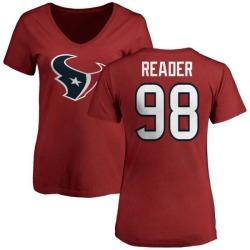 Women's D.J. Reader Houston Texans Name & Number Logo Slim Fit T-Shirt - Red