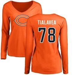 Women's D.J. Tialavea Chicago Bears Name & Number Logo Slim Fit Long Sleeve T-Shirt - Orange