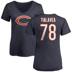 Women's D.J. Tialavea Chicago Bears Name & Number Logo Slim Fit T-Shirt - Navy