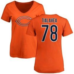 Women's D.J. Tialavea Chicago Bears Name & Number Logo Slim Fit T-Shirt - Orange