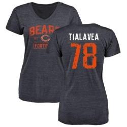 Women's D.J. Tialavea Chicago Bears Navy Distressed Name & Number Tri-Blend V-Neck T-Shirt