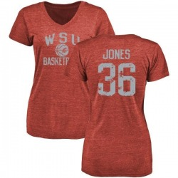 Women's D'Jimon Jones Washington State Cougars Distressed Basketball Tri-Blend V-Neck T-Shirt - Crimson