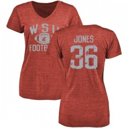 Women's D'Jimon Jones Washington State Cougars Distressed Football Tri-Blend V-Neck T-Shirt - Crimson