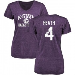 Women's Dominique Heath Kansas State Wildcats Distressed Basketball Tri-Blend V-Neck T-Shirt - Purple
