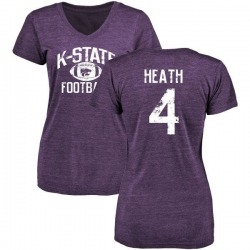 Women's Dominique Heath Kansas State Wildcats Distressed Football Tri-Blend V-Neck T-Shirt - Purple