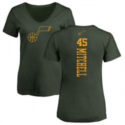 Women's Donovan Mitchell Utah Jazz Green One Color Backer Slim-Fit V-Neck T-Shirt