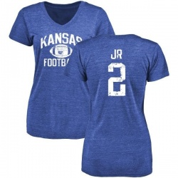 Women's Dorance Armstrong Jr. Kansas Jayhawks Distressed Football Tri-Blend V-Neck T-Shirt - Royal