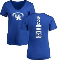 Women's Dorian Baker Kentucky Wildcats Football Backer V-Neck T-Shirt - Royal