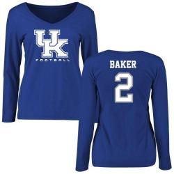 Women's Dorian Baker Kentucky Wildcats Football Slim Fit Long Sleeve T-Shirt - Royal