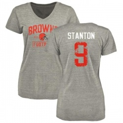Women's Drew Stanton Cleveland Browns Heather Gray Distressed Name & Number Tri-Blend V-Neck T-Shirt