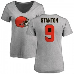Women's Drew Stanton Cleveland Browns Name & Number Logo Slim Fit T-Shirt - Ash