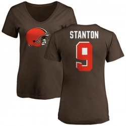 Women's Drew Stanton Cleveland Browns Name & Number Logo Slim Fit T-Shirt - Brown