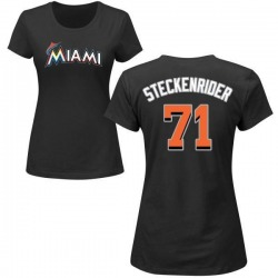 Women's Drew Steckenrider Miami Marlins Roster Name & Number T-Shirt - Black