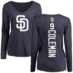 Women's Dusty Coleman San Diego Padres Backer Slim Fit Long Sleeve T-Shirt - Navy