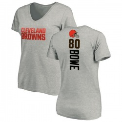 Women's Dwayne Bowe Cleveland Browns Backer V-Neck T-Shirt - Ash