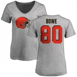 Women's Dwayne Bowe Cleveland Browns Name & Number Logo Slim Fit T-Shirt - Ash