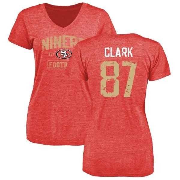 designer fashion 44808 614ba Women's Dwight Clark San Francisco 49ers Distressed Name & Number Tri-Blend  T-Shirt - Red - Teams Tee