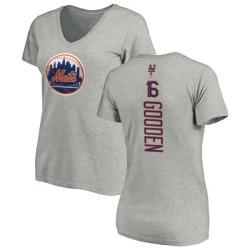 Women's Dwight Gooden New York Mets Backer Slim Fit T-Shirt - Ash