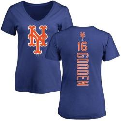Women's Dwight Gooden New York Mets Backer Slim Fit T-Shirt - Royal