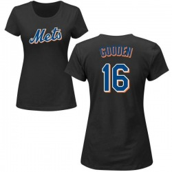 Women's Dwight Gooden New York Mets Roster Name & Number T-Shirt - Black