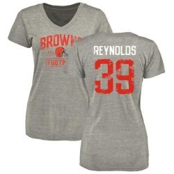 Women's Ed Reynolds Cleveland Browns Heather Gray Distressed Name & Number Tri-Blend V-Neck T-Shirt