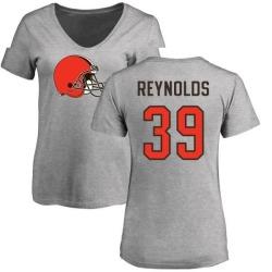 Women's Ed Reynolds Cleveland Browns Name & Number Logo Slim Fit T-Shirt - Ash