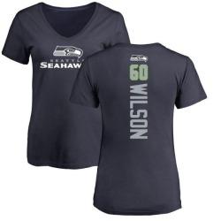 Women's Eddy Wilson Seattle Seahawks Backer Slim Fit T-Shirt - Navy