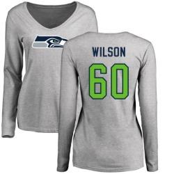 Women's Eddy Wilson Seattle Seahawks Name & Number Logo Slim Fit Long Sleeve T-Shirt - Ash